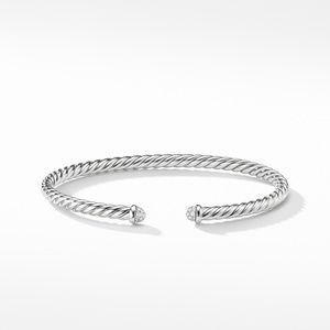 Cable Spira Bracelet with Diamonds in 18K White Gold, 4mm alternative image