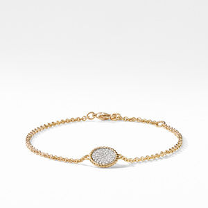 Cable Pave Charm Bracelet with Diamonds in Gold