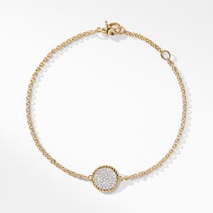 Cable Pave Charm Bracelet with Diamonds in Gold alternative image