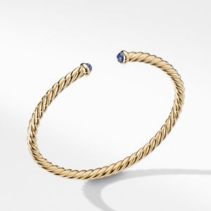 Petite Precious Cable Bracelet with Blue Sapphires in Gold