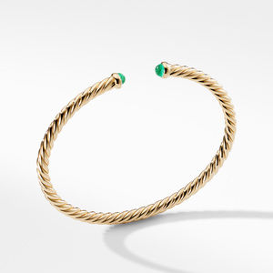 Petite Precious Cable Bracelet with Emeralds in Gold