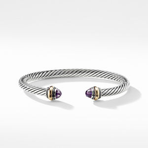 Cable Classic Bracelet with Amethyst and Gold alternative image