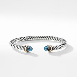 Cable Classic Bracelet with Blue Topaz and Gold alternative image
