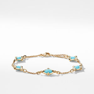 Chatelaine® Chain Bracelet in 18K Gold with Turquoise