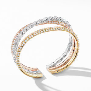 Paveflex Three Row Bracelet  in 18K Gold with Diamonds
