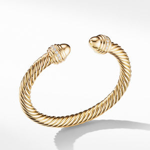 Cable Bracelet in 18K Gold with Gold Dome and Diamonds