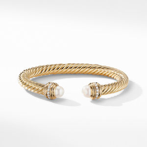 Cable Bracelet in 18K Gold with Pearls and Diamonds alternative image