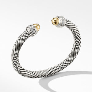 Cable Bracelet with Gold Dome and Diamonds