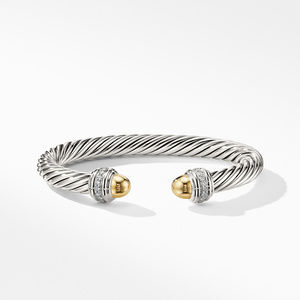Cable Bracelet with Gold Dome and Diamonds alternative image