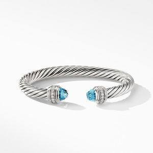 Cable Bracelet with Blue Topaz and Diamonds alternative image