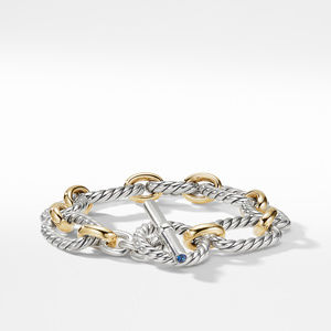 Cushion Link Bracelet with Blue Sapphires and 18K Gold