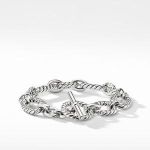 Cushion Link Bracelet with Diamonds, 12.5mm