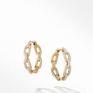 Stax Medium Chain Link Hoop Earrings with Diamonds in 18K Gold