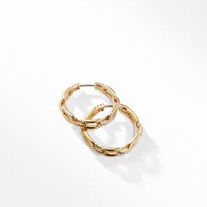 Stax Medium Chain Link Hoop Earrings with Diamonds in 18K Gold alternative image