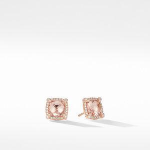 Chatelaine Pavé Bezel Stud Earrings in 18K Rose Gold with Morganite