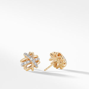 Crossover Earrings with Diamonds in 18K Gold, 11mm alternative image