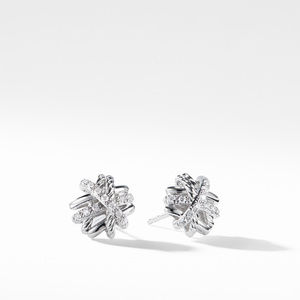 Crossover Earrings with Diamonds,