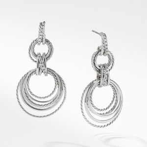 Crossover Double Drop Earrings with Diamonds, 49mm