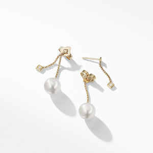 Solari Drop Earrings in 18k Gold with Diamonds and South Sea White Pearl alternative image