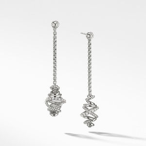 Crossover Chain Drop Earrings with Diamonds,
