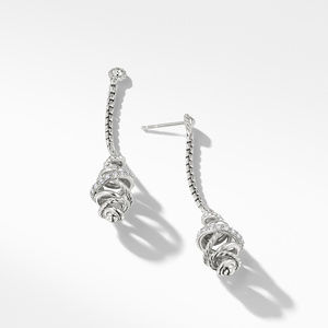 Crossover Chain Drop Earrings with Diamonds, alternative image