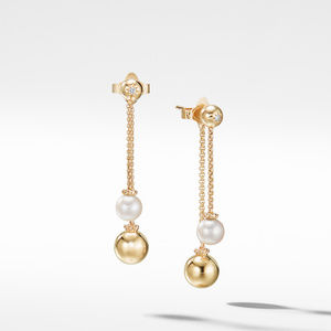 Solari Chain Drop Earrings with Pearls and Diamonds in 18K Gold