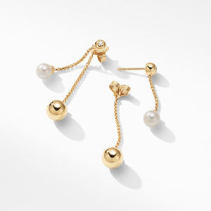 Solari Chain Drop Earrings with Pearls and Diamonds in 18K Gold alternative image