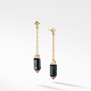 Barrels Chain Drop Earrings with Black Onyx, Rubies and Diamonds in 18K Gold