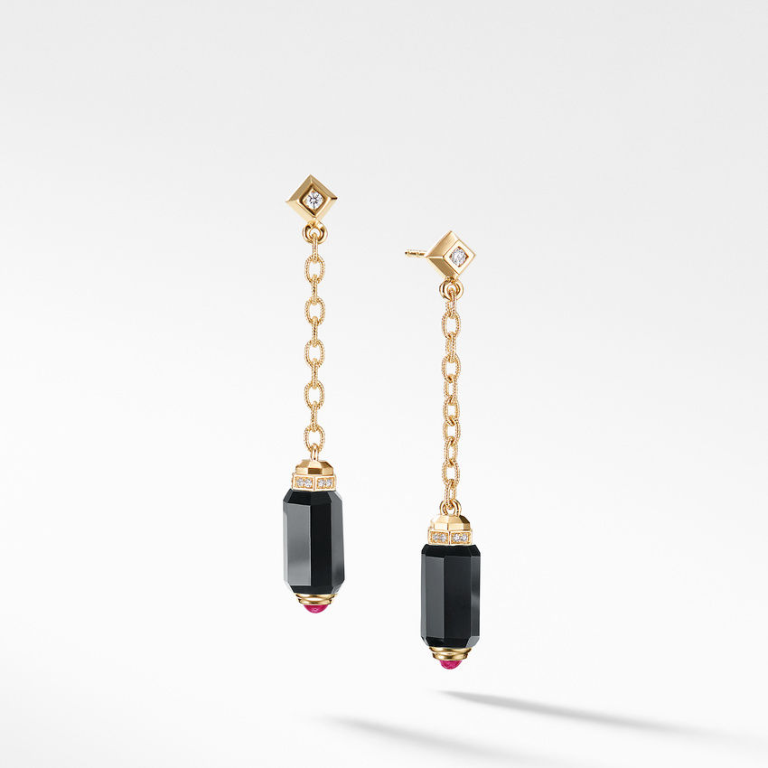 Barrels Chain Drop Earrings with Black Onyx Rubies and Diamonds in 18K Gold