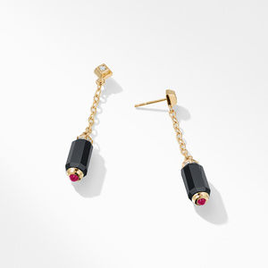 Barrels Chain Drop Earrings with Black Onyx, Rubies and Diamonds in 18K Gold alternative image