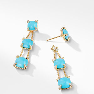 Chatelaine® Linear Chain Earrings with Turquoise and Diamonds in 18K Gold alternative image