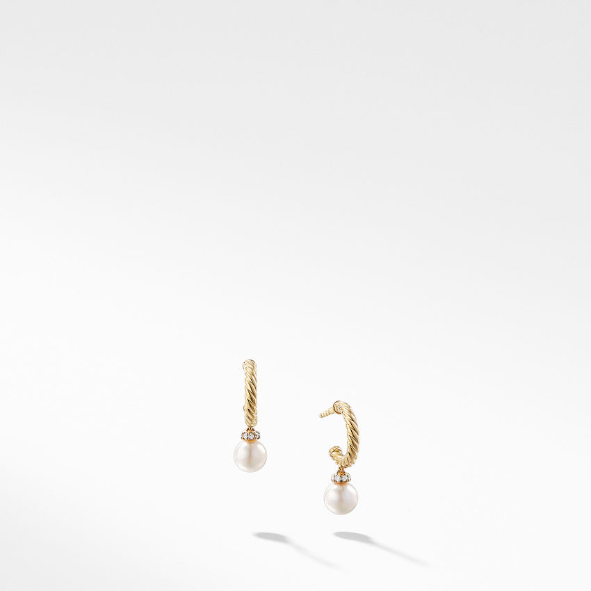 Solari Hoop Earrings with Cultured Pearl and Diamonds in 18K Gold