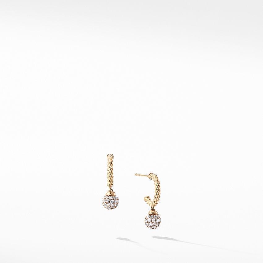 Petite Solari Hoop Pave Earrings with Diamonds in 18K Gold