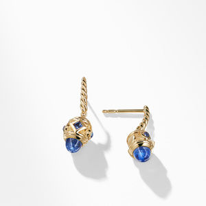 Renaissance Drop Earrings with Light Blue Sapphire in 18K Gold alternative image