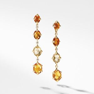 Chatelaine® Drop Earrings in 18K Gold with Citrine and Diamonds