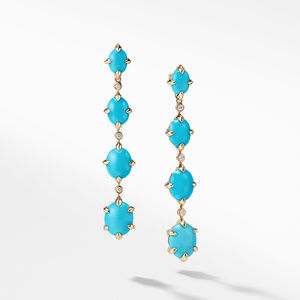 Chatelaine® Drop Earrings in 18K Gold with Turquoise and Diamonds