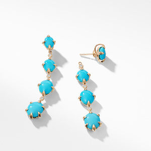 Chatelaine® Drop Earrings in 18K Gold with Turquoise and Diamonds alternative image