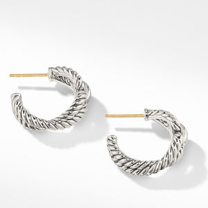 Cable Loop Hoop Earrings with Diamonds alternative image
