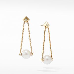 Solari Pearl Drop Earring with Diamonds in 18K Yellow Gold