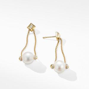 Solari Pearl Drop Earring with Diamonds in 18K Yellow Gold alternative image