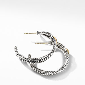 Cable Loop Hoop Earrings with 18K Gold alternative image