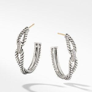 Cable Loop Hoop Earrings with Diamonds