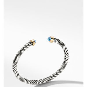 Cable Kids® Birthstone Bracelet with Blue Topaz and 14K Gold, 4mm