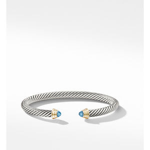 Cable Kids® Birthstone Bracelet with Blue Topaz and 14K Gold, 4mm alternative image