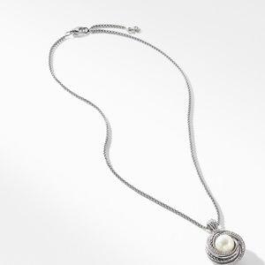 Pearl Cross over Pendant Necklace with Diamonds alternative image