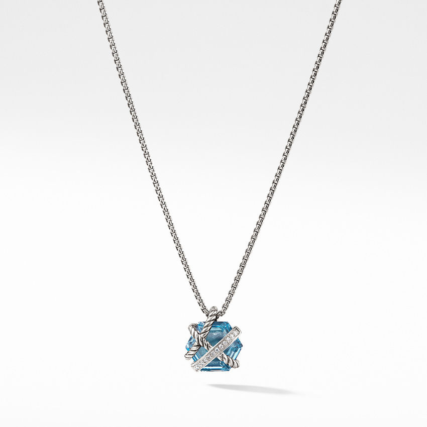 Cable Wrap Necklace with Blue Topaz and Diamonds