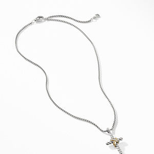 X Cross Necklace with Diamonds and Gold alternative image