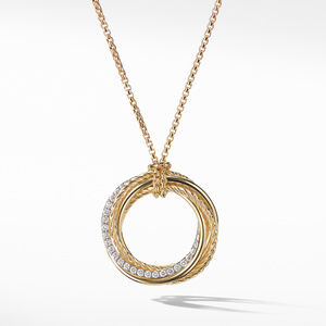 Cross over Pendant Necklace with Diamonds in Gold