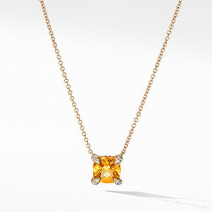 Necklace with Citrine and Diamonds in 18k Gold