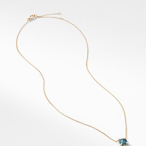 Pendant Necklace with Hampton Blue Topaz and Diamonds in 18K Gold alternative image